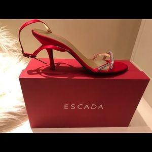 Red Satin Escada Blair Dressy Heels Sandals Size 8